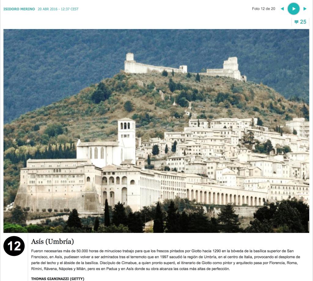 El-Pais 20/4/2016: Assisi uno dei più bei borghi d'Italia